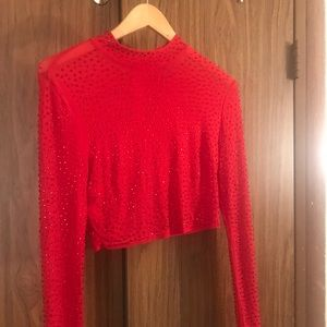 Studded red long slevee top